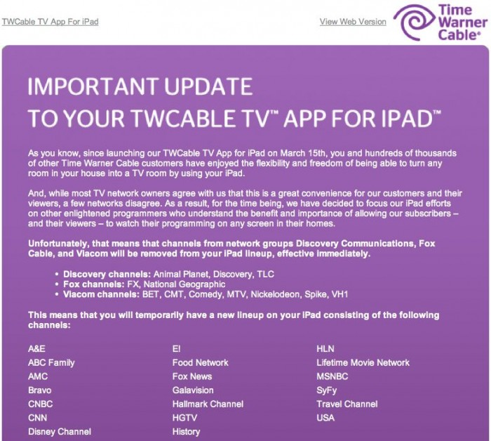 Time Warner Cable Has To Pull Channels From Their iPad App