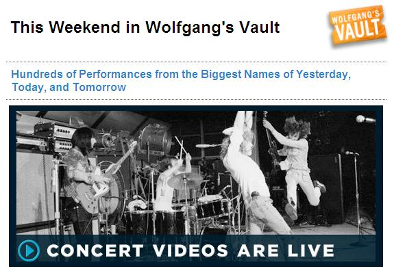 Music Diary Notes: Wolfgang's Vault Now Offers Videos!