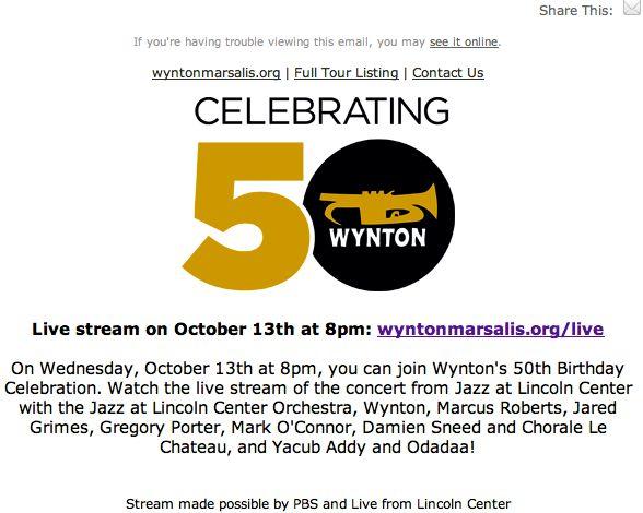Music Diary Notes: Watch Wynton Marsalis 50th Birthday Concert Live Stream