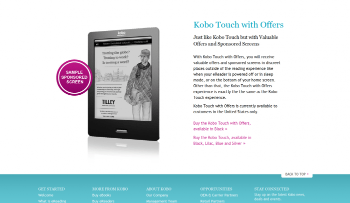 "Kobo Touch Gets a ""Price Drop"" with Some Ad Support"