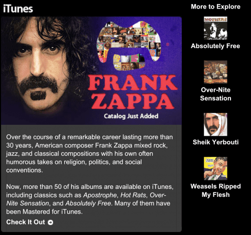 Frank Zappa Now on iTunes, and Coming Soon to Streaming Services!