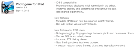 Photogene for iPad, Updated and Awesome