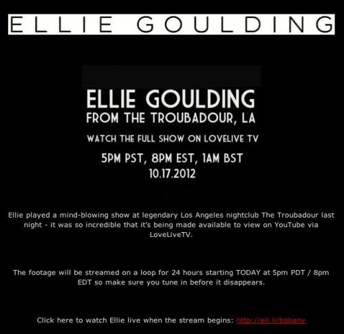 Watch Ellie Goulding 'Live' Streaming Concert on a 24-Hour Loop!