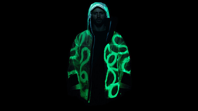 Solar Charged Puffer Jacket with light drawn pattern