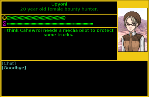 "NPC saying ""I think Cahewroi needs a mecha pilot to protect some trucks."""