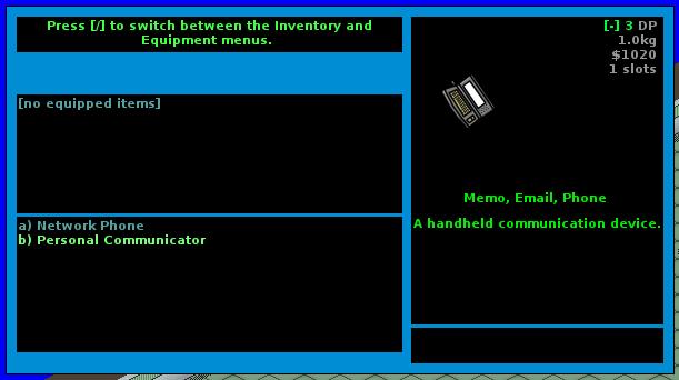 GearHead2 Inventory Menu