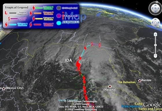 Hurricane Ida in Google Earth