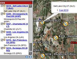 Airfare tool in Google Earth