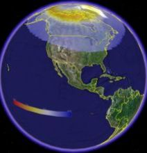 Aurora viewing map from NOAA in Google Earth