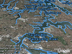 Water bodies layer in Google Earth
