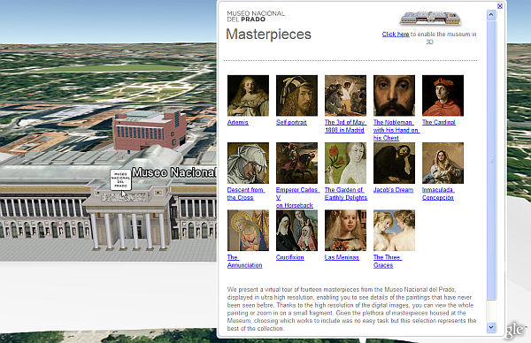 Museo Prado layer in Google Earth