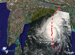 Tropical Storm Sidr in Google Earth