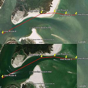 Carolina Beach Inlet in Google Earth verses more recent photo