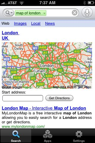 Map of London voice search on iPhone