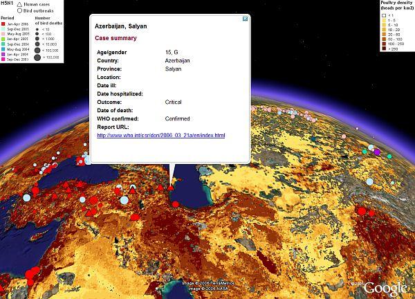 Avian Flu Outbreak Map in Google Earth