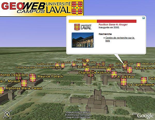 Laval University in Google Earth
