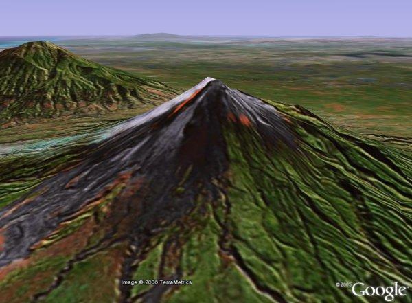 Mount Merapi volcano in Java, Indonesia in Google Earth