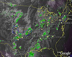 NOAA Real-time Severe Storms Radar Weather in Google Earth