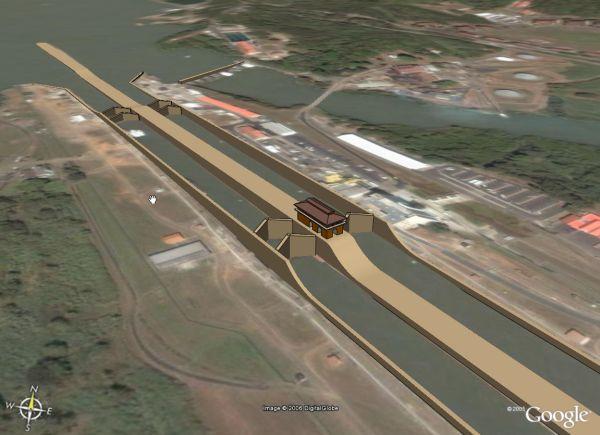 Panama Canal in Google Earth