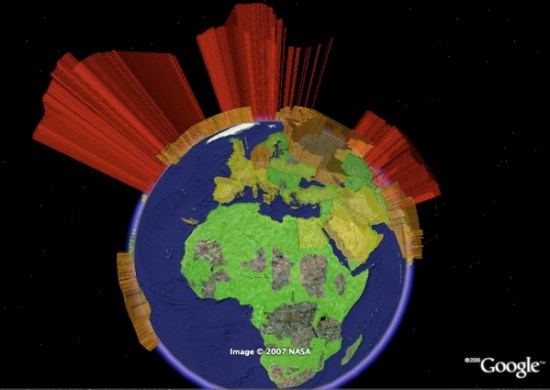 World Oil Consumption   3D Charts in Google Earth   Google Earth Blog Oil Consumption 3D Chart in Google Earth