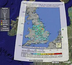 UK earthquake in Google Earth
