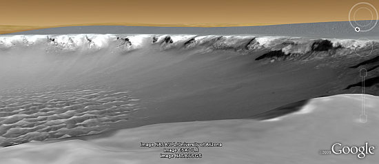 Crater on Mars with HiRISE in Google Earth 5