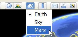 Mars option in Google Earth 5