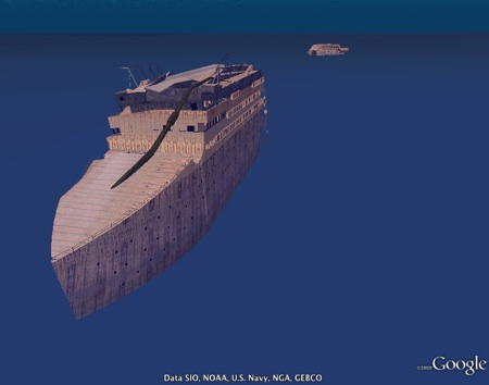 Titanic in 3D in Google Earth 5
