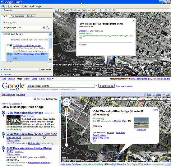 Search Results in Google Earth/Maps