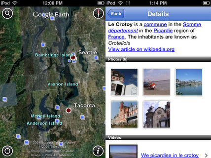 Places layer in iPhone Google Earth
