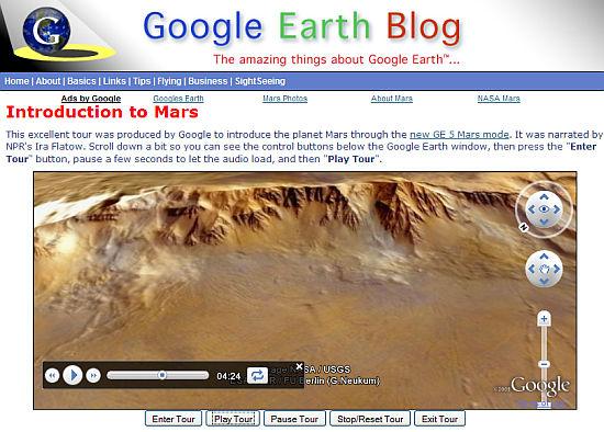 Screenshot of Mars Tour on web page