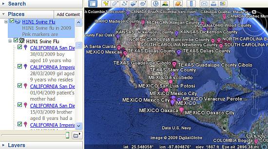 Swine Flu Map in Google Earth
