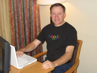 Frank Taylor in Google Earth t-shirt
