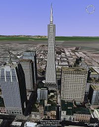 3D TransAmerica Tower and area in Google Earth