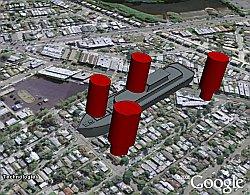 Battleship mobile game in Google Earth
