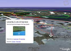 Sailing the Virgin Islands in Google Earth