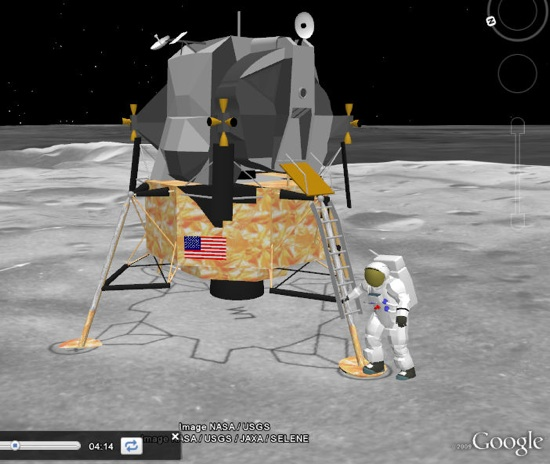 Moon in 3D in Google Earth - Apollo 11