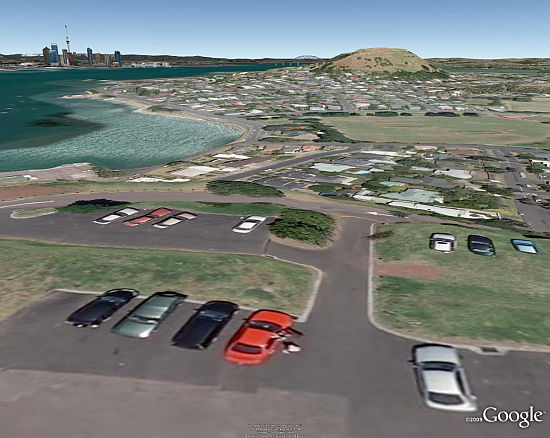 View from North Head of Auckland area in Google Earth