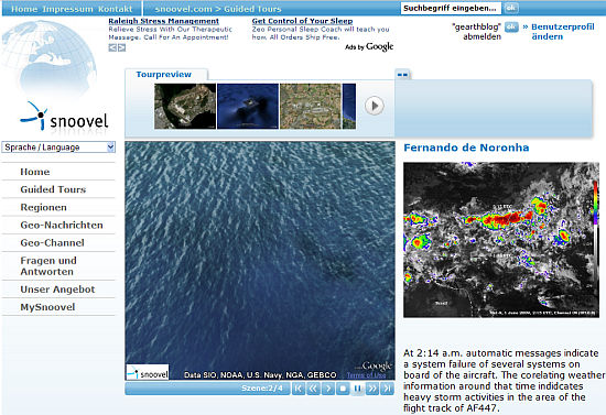 Screenshot of snoovel using Google Earth Tour