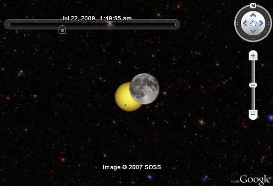 Solar Eclipse Simulation in Google Earth