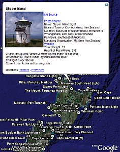 Lighthouses of New Zealand in Google Earth