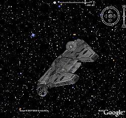 Han Solo in Google Earth Sky