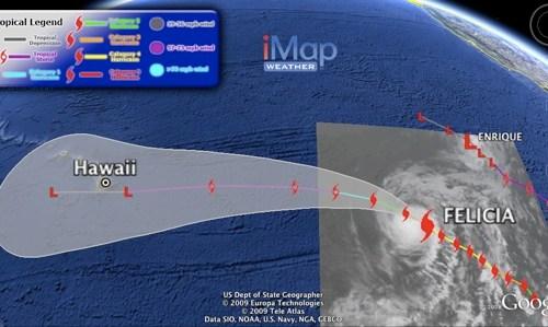 Hurricane Felicia on August 7, 2009 in Google Earth