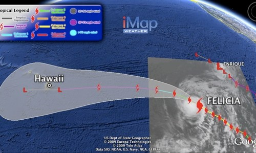 Cat 4 Storm Felicia Headed for Hawaii - See in Google Earth