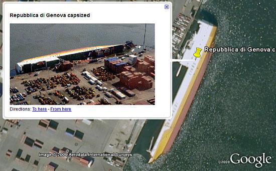 Capsized cargo vessel in Google Earth