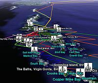 Track of Sailing passage in catamaran and anchorages in Caribbean and Bahamas and Bermuda in Google Earth