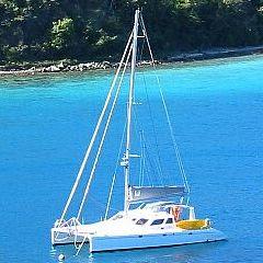 PatiCat Voyage 440 at anchor