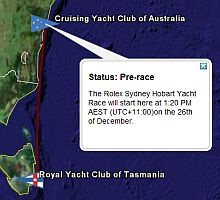 Sydney Hobart Yacht Race in Google Earth