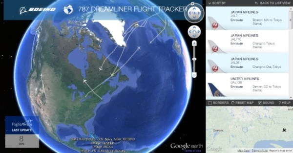 Tracking the Boeing Dreamliner in Google Earth Google