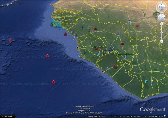 ebola in Google Earth
